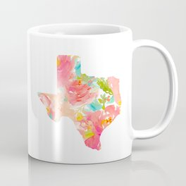 Texas Floral map state map print Coffee Mug