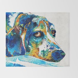 Colorful Beagle Dog Art By Sharon Cummings Throw Blanket