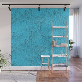 Teal / Turquoise Lace with Doves and Flowers Wall Mural