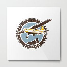 Aviation badge in retro style Metal Print