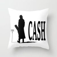 johnny cash Throw Pillows featuring CASH by shannon's art space