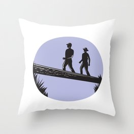 Hikers Crossing Single Log Bridge Oval Woodcut Throw Pillow