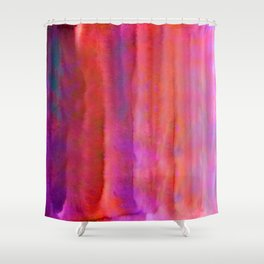 Striped Watercolor Art vibrant Red and Pink Shower Curtain
