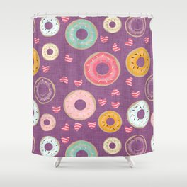 hearts and donuts purple Shower Curtain