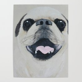 Pug Portrait - Original painting by Tracy Sayers Trombetta Poster