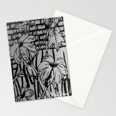 Black and White Palm Flowers by my Mom Stationery Cards