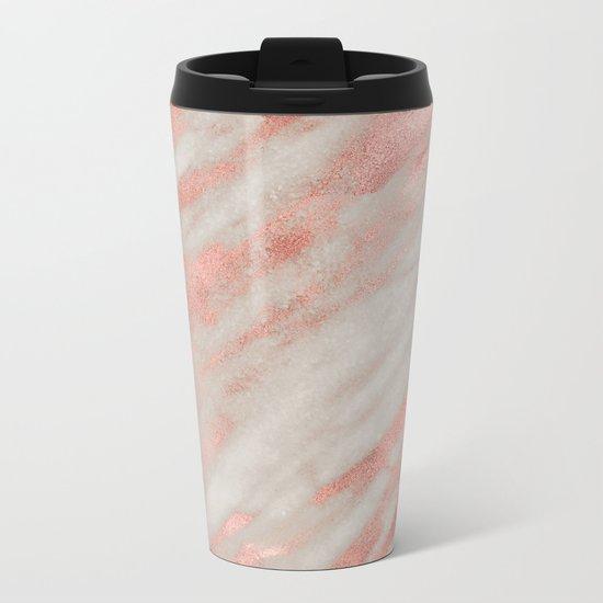 Smooth rose gold on gray marble Metal Travel Mug