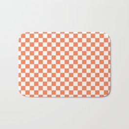 Living Coral Color Checkerboard Bath Mat