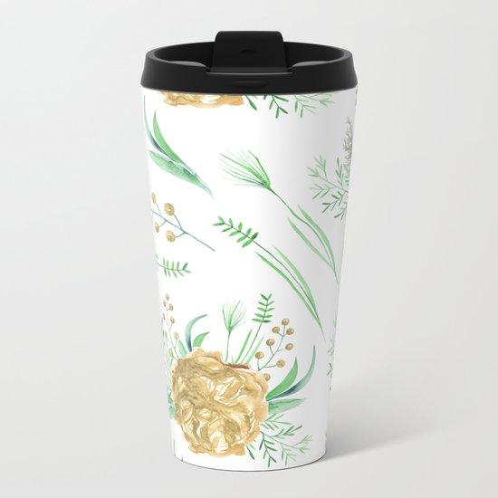 Coral Peach Garden Metal Travel Mug