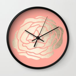 Rose White Gold Sands on Salmon Pink Wall Clock