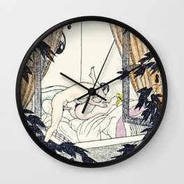 vintage hand colored nudes woman man love making window Wall Clock