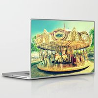 carousel Laptop & iPad Skins featuring Carousel Merry-G0-Round by WhimsyRomance&Fun