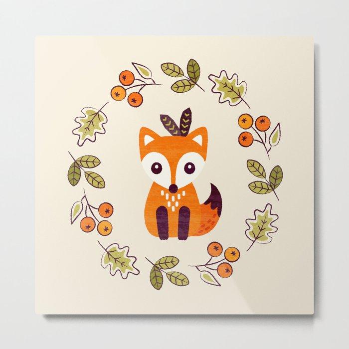 LITTLE FOX WITH AUTUMN BERRIES Metal Print
