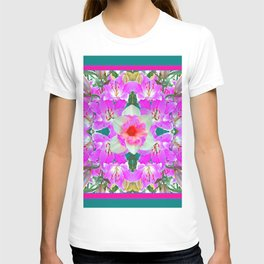 TEAL PINK SPRING LILY FLOWERS PURPLE GARDEN PATTERNS T-shirt