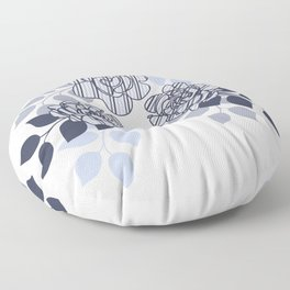 Rose Floral Grape and Gray Floor Pillow