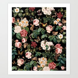 Floral and Butterflies Art Print