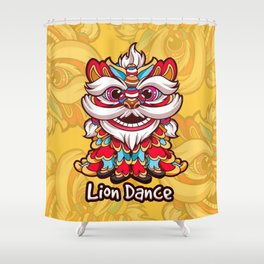 """"""" Lion Dance Chinese """" Shower Curtain"""