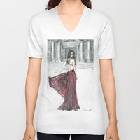 milan V-neck T-shirts featuring Fashion model in Milan by ArtSelena