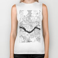 seoul Biker Tanks featuring Seoul Map Gray by City Art Posters