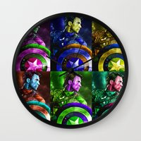 popart Wall Clocks featuring Cap PopArt by KP Designs