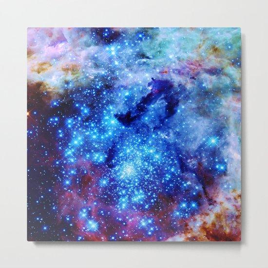 galaxy blue sparkle Metal Print