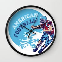 nfl Wall Clocks featuring American Football by Studio|19