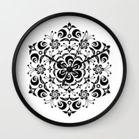 snowflake Wall Clocks featuring Snowflake by BWartwork