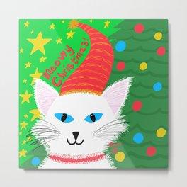 Christmas Cat Long white hair blue eyes Metal Print