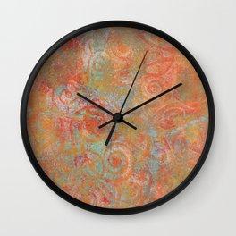 Gelatin monoprint 19 Wall Clock