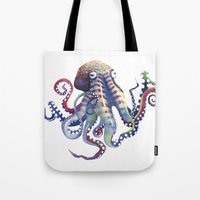 octopus Tote Bags featuring Octopus by Sam Nagel