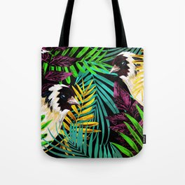 Tropical birds and green leaves Tote Bag