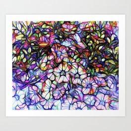 Glass Petunias Art Print