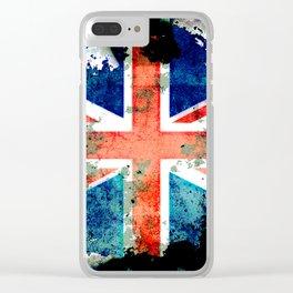 Extreme Grunge Union Jack Flag Clear iPhone Case