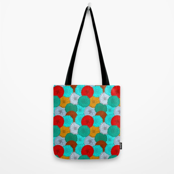 Bright Flowers, pattern in red, teal, green, violet, and gold Tote Bag