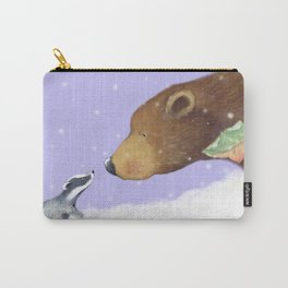 badger meets bear in the snow Carry-All Pouch