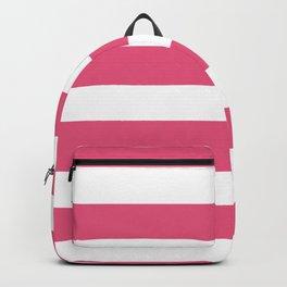 Horizontal Stripes - White and Dark Pink Backpack