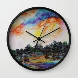 WAtercolor City Wall Clock