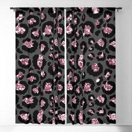 Black & Rose Gold Leopard Print Glitter Blackout Curtain