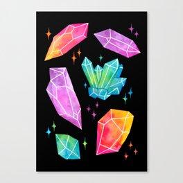 Watercolor Crystals // Black Canvas Print