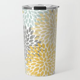 Floral Pattern, Yellow, Pale, Aqua, Blue and Gray Travel Mug
