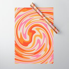 70s Retro Swirl Color Abstract Wrapping Paper