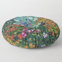 Flower Garden Riot of Colors by Gustav Klimt Floor Pillow