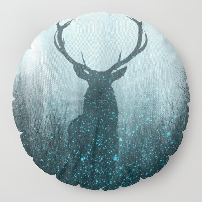 Snow Stag Silhouette Floor Pillow