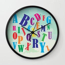 Alphabet art , nursery decor , children gift, birthday gift Wall Clock