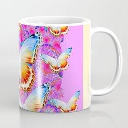 EXOTIC ORIENTAL BUTTERFLIES PINK-YELLOW ART Coffee Mug