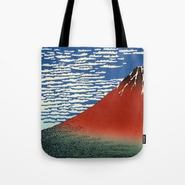 """Hokusai (1760–1849) """"Fuji, Mountains in clear Weather (South Wind, Clear Sky)(Red Fuji)"""" Tote Bag"""