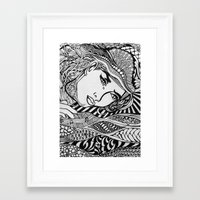lichtenstein Framed Art Prints featuring Zentangle Lichtenstein by butterflyandbear