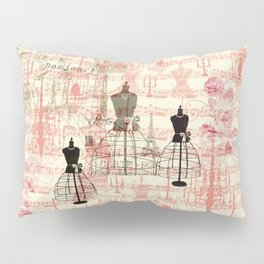 Vintage coral pink mannequin music note collage design Pillow Sham