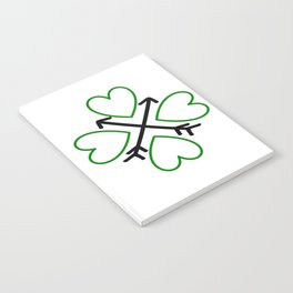 St. Patrick's Day Shamrock Lucky Charm Green Clover Veart with Arrows Notebook