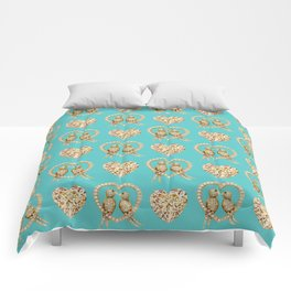 Tiffany Blue Valentines Love Hearts , love, birds Comforters